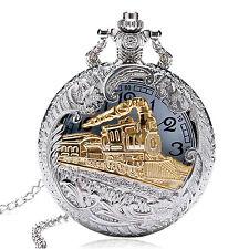 New Silver Gold Steam Train Locomotive Quartz Pocket Watch Oil Full Hunter Chain