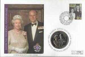 SOLOMON ISL 2007 QE11 DIAMOND WEDDING ANNIVERSARY FIVE POUNDS COIN COVER 1734