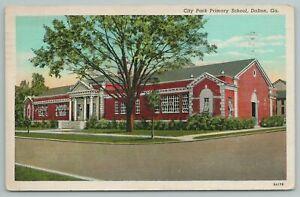 Dalton Georgia~City Park Primary School~1940s Linen Postcard