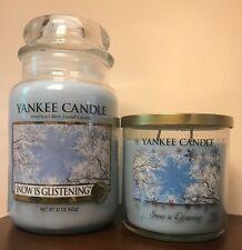 Yankee Candle SNOW IS GLISTENING and 12.5 oz 2 wick Tumbler Winter Wonderland