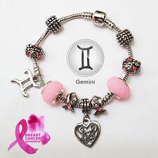 GEMINI Zodiac Silver Pink Murano Mother & Daughter Heart Charm Bracelet