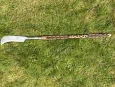 More details for vintage custom elwell long handled bill hook/slasher. hand carved viking design