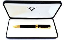 VISCONTI CLUB OPERA BALLPOINT PEN IN BLACK LACQUER WITH ROSE GOLD ACCENTS - NEW