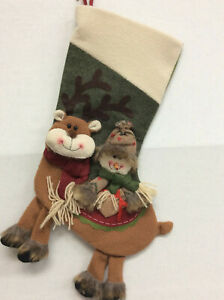"""20"""" Woodland Rustic 3D Reindeer Snowman Dangle Red Green Christmas Stocking"""