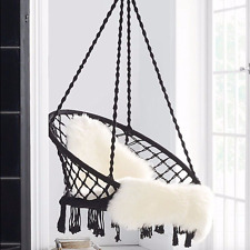 Macrame HAMMOCK CHAIR Swing Relax in Luxury Comfort Handmade Shabby Black NEW