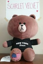 """NWT LINE Friends New York Edition BROWN Hoodie Plush Doll 12"""" / 28cm Character"""