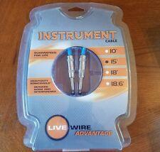 "NIB Live Wire Advantage Series 1/4"" straight instrument cable 15 foot EG15"