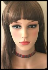 Royal Stewart Red Tartan Choker Necklace Headband Metal Chain Punk Goth Fabric
