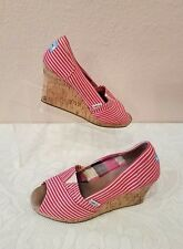 TOMS NAUTICAL ESPADRILLES RED WHITE STRIPED OPEN TOE CORK WEDGE SANDALS SIZE 8