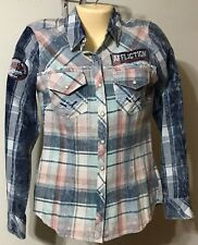 Ladies Snap Front Shirt Affliction Brand Size XS NWT Double Take LS Blue Multi