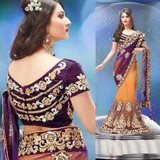 Indian Designer Embroidery Wedding Party Women Lehenga Saree Sari + Blouse Piece