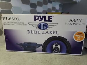 "Pyle PL63BL 6.5"" 360 Watts 3-Way Car Audio Coaxial Speakers PAIR Blue"