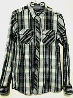 Eighty Eight Platinum Mens Long Sleeve Western Flannel Dress Shirt Blue Size M