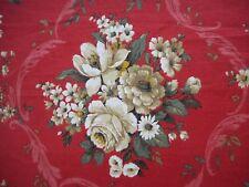 Lovely unused Sanderson 'Ferrovia' linen union vintage fabric 1.3M lengths, red