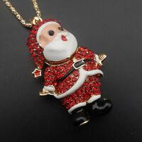 Betsey Johnson Red Crystal Enamel Santa Claus Pendant Sweater Necklace