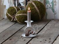 Chic Antique Kammerleuchter Kerzenständer weiß  Metall  Shabby Chic Vintage 10cm