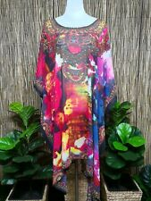 Plus Size Sheer Chiffon Embellished Kaftan Digital Printed Size 16-26 One Size