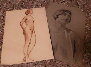 Pair of Antique 19th Century Nude Female Figure Studies Drawing Sketches Art