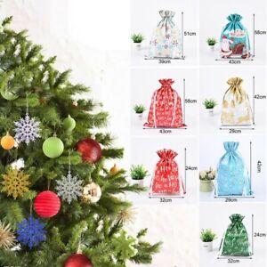 5 Pcs Christmas Gift Party Bags Sacks Reusable Drawstring Wrap Xmas Storage Bag