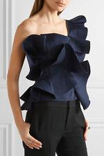 Johanna Ortiz NWT One Shoulder Ruffled Tiered Cotton Poplin Top Dama Danzante 0