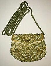 NWD ANTIK BATIK GOLD BEADED COTTON *RIMINI POUCH* SAC POCHETTE MINI BAG PURSE
