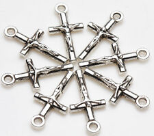 25pcs Tibet Silver Cross Loose Beads Pendant Jewelry Making For Bracelet 21x9mm