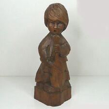 60er Design Mädchen Engel Putte mit Cello Massivholz Handarbeit ca. 30 cm