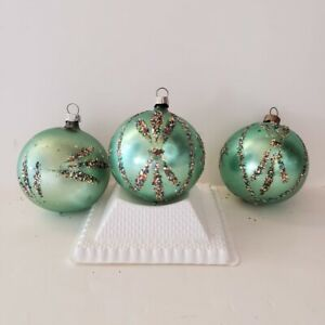 3 Vintage Lanissa Glass Christmas Ornaments Teal West Germany Metal Caps Glitter