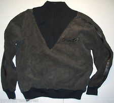 MEN'S DRESSY TURTLENECK SWEATER w ZIPPER BY OUTER POINT SIZE:L COLOR:BROWN/BLACK