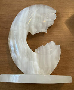 """White Veined Marble Mother and Child Adoration Carved Stone Sculpture 10"""" By 7"""""""