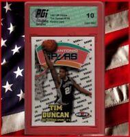 TIM DUNCAN 1997-98 HOOPS #156 Spurs Rookie Card PGI 10