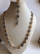 collier et bracelet  grose graine café  en acier inoxydable argenté et doré