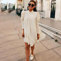 Women Long Puff Sleeve Ruffled Stand Neck Chiffon Mini Party Dress Elegant