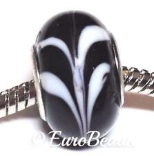 Black & White_Murano Glass Bead for Silver European Chain Charm Bracelet_B165