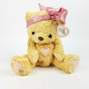 Cherished Teddies 1998 Plush Priscilla Hillman Tummy Heart Bear Pink Ribbon 13""