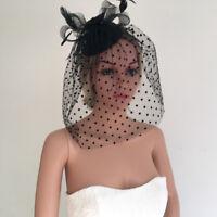 Vintage Black Mini Top Hat Face Veil Fascinator Feather Flower Hair Clip