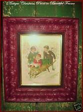 Antique Victorian Original Christmas Children Print Beautiful Carved Wood Frame