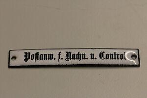 altes Emailleschild  Deutsche Post Reichspost Postanw. f. Nachn.u.  Emailschild