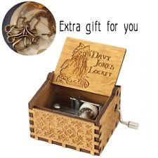 ♫ DAVY JONES LOCKET ♫  New Handmade Engraved Wooden Music Box - FREE SHIP US