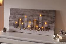 Leinwand Wandbild Deko Bild Kerzenschein Romantik Keilrahmen 11 LED Dioden 60x30