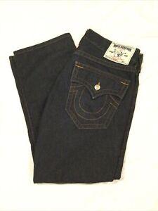 True Religion Men's Sz 36 x 30 Straight With Flaps Dark Wash Jeans 100% Cotton