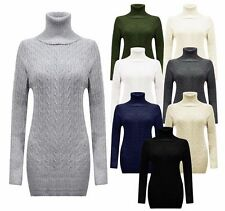 Women's Cable Chunky Knitted Polo Neck Ladies Body Con Mini Jumper High Neck Dre
