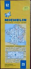 MICHELIN FRANCE 1981 COLOURED PAPER MAP of CHAUMONT/STRASBOURG No 62 1:200 000