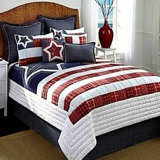 Cremieux Liberty Navy/White/Black Plaid King Bedskirt Nip Msrp $69! Gorgeous!