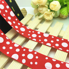 NEW DIY 5 Yards 1'' 25mm Red Circle Printed Grosgrain Ribbon Hair Bow Sewing