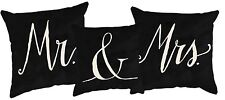MR & MRS Black And White Decorative Pillows, Set of 3, Primitives by Kathy