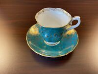 ANTIQUE STAFFORDSHIRE BONE CHINA TEA CUP & SAUCER - BLUE, GOLD & WHITE