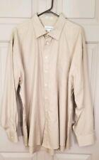 Joseph & Feiss Men's Long Sleeve Button Down Dress Shirt, Tan, Size 19