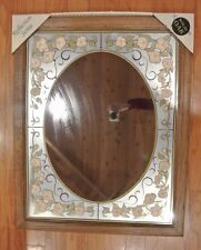 Vintage Square Wall Mirror with Solid Oak Wood Frame from National