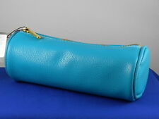 Bareminerals Teal Faux Leather Zip Top Barrel Cosmetic Makeup Bag
